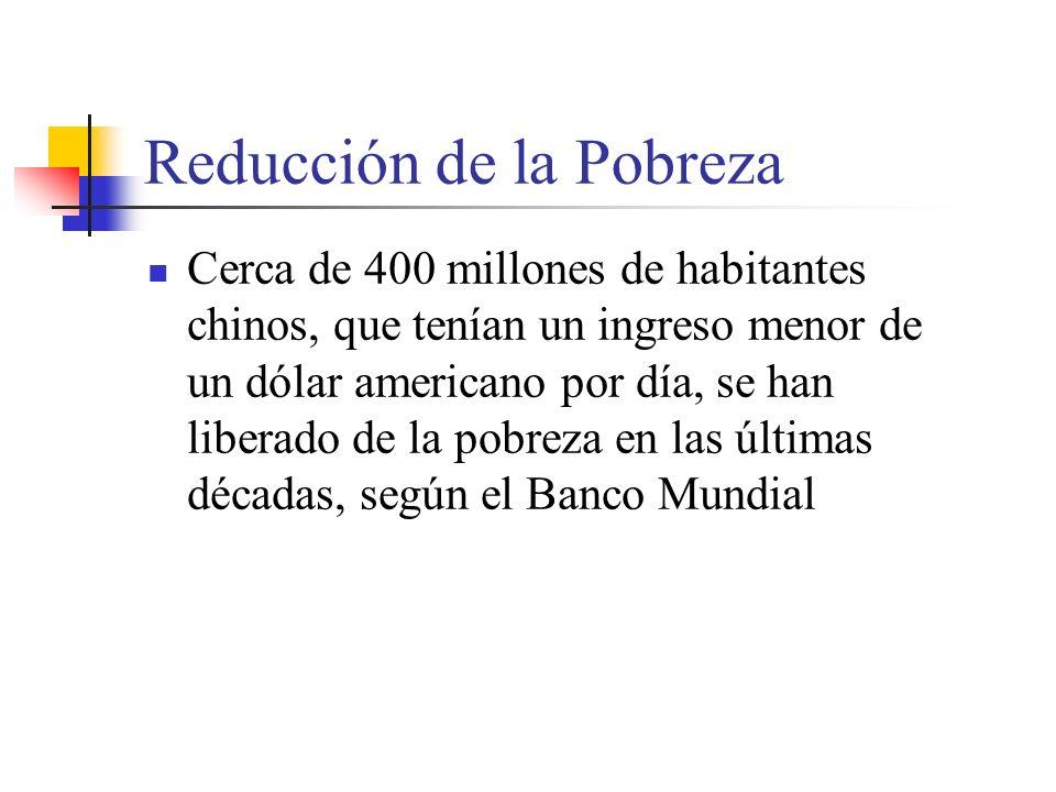 Reducción de la Pobreza Cerca de 400 millones de habitantes chinos, que tenían un ingreso menor de un dólar americano por día, se han liberado de la pobreza en las últimas décadas, según el Banco Mundial