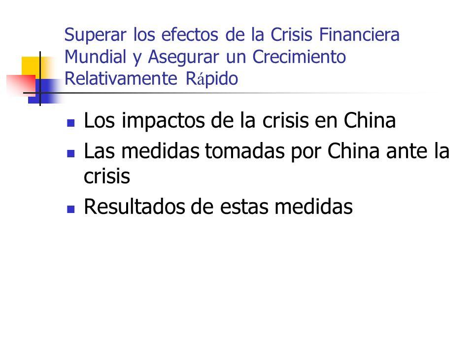 Superar los efectos de la Crisis Financiera Mundial y Asegurar un Crecimiento Relativamente R á pido Los impactos de la crisis en China Las medidas tomadas por China ante la crisis Resultados de estas medidas