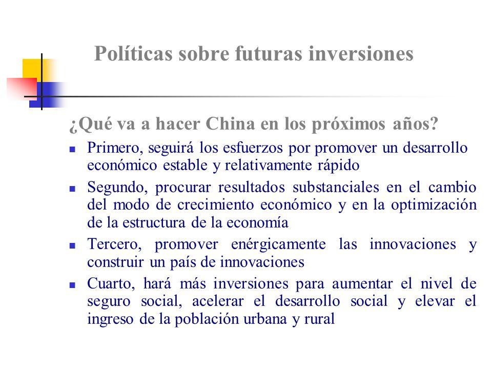 Políticas sobre futuras inversiones ¿Qué va a hacer China en los próximos años.