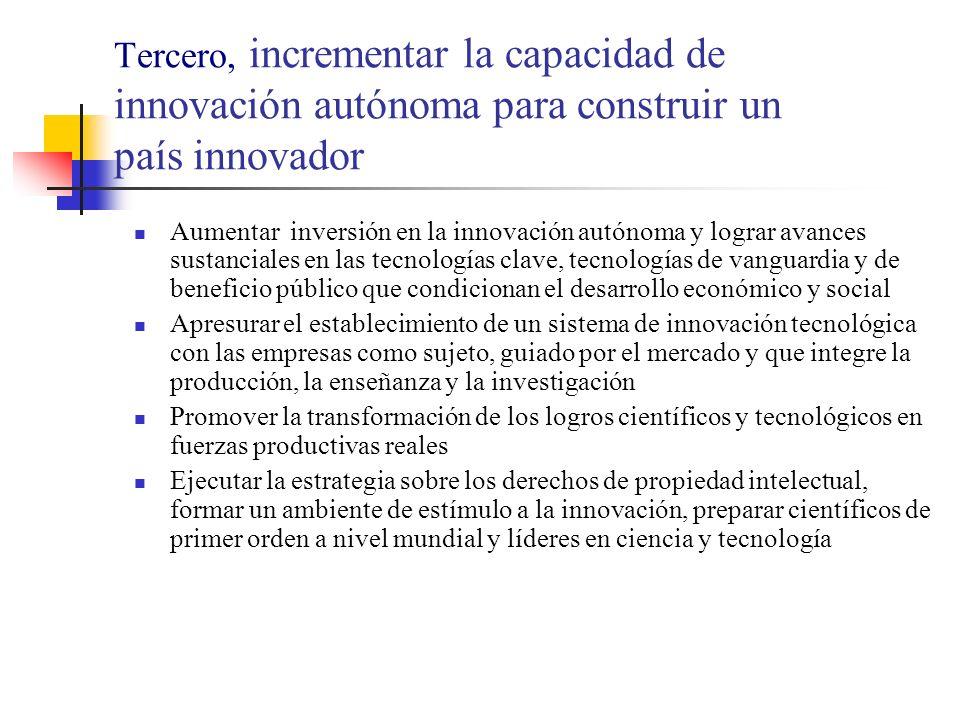 Tercero, incrementar la capacidad de innovación autónoma para construir un país innovador Aumentar inversión en la innovación autónoma y lograr avances sustanciales en las tecnologías clave, tecnologías de vanguardia y de beneficio público que condicionan el desarrollo económico y social Apresurar el establecimiento de un sistema de innovación tecnológica con las empresas como sujeto, guiado por el mercado y que integre la producción, la enseñanza y la investigación Promover la transformación de los logros científicos y tecnológicos en fuerzas productivas reales Ejecutar la estrategia sobre los derechos de propiedad intelectual, formar un ambiente de estímulo a la innovación, preparar científicos de primer orden a nivel mundial y líderes en ciencia y tecnología