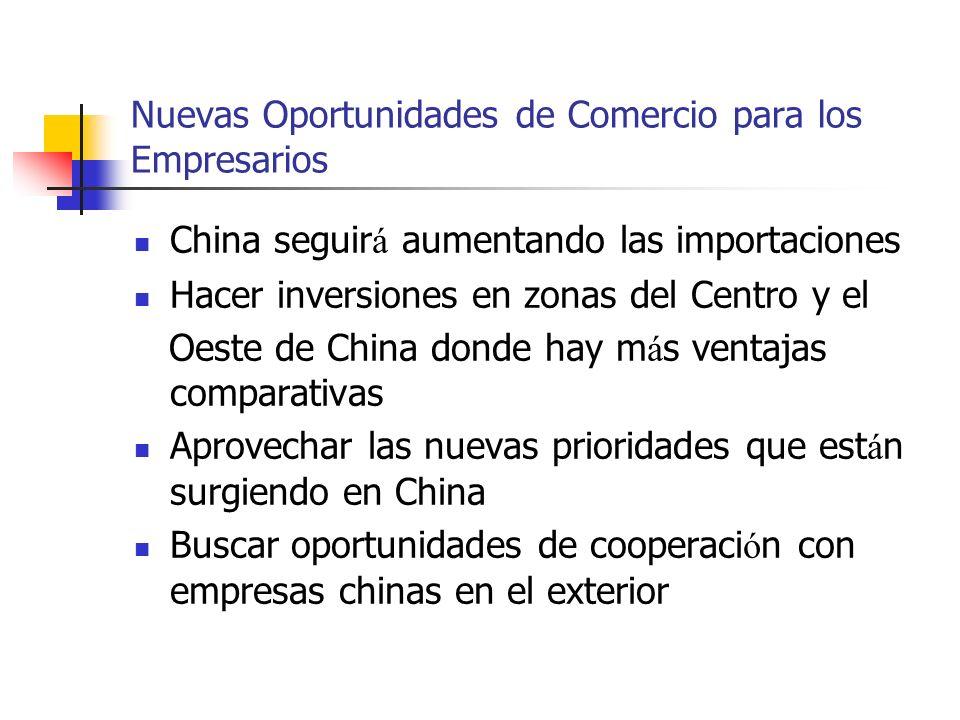 Nuevas Oportunidades de Comercio para los Empresarios China seguir á aumentando las importaciones Hacer inversiones en zonas del Centro y el Oeste de China donde hay m á s ventajas comparativas Aprovechar las nuevas prioridades que est á n surgiendo en China Buscar oportunidades de cooperaci ó n con empresas chinas en el exterior