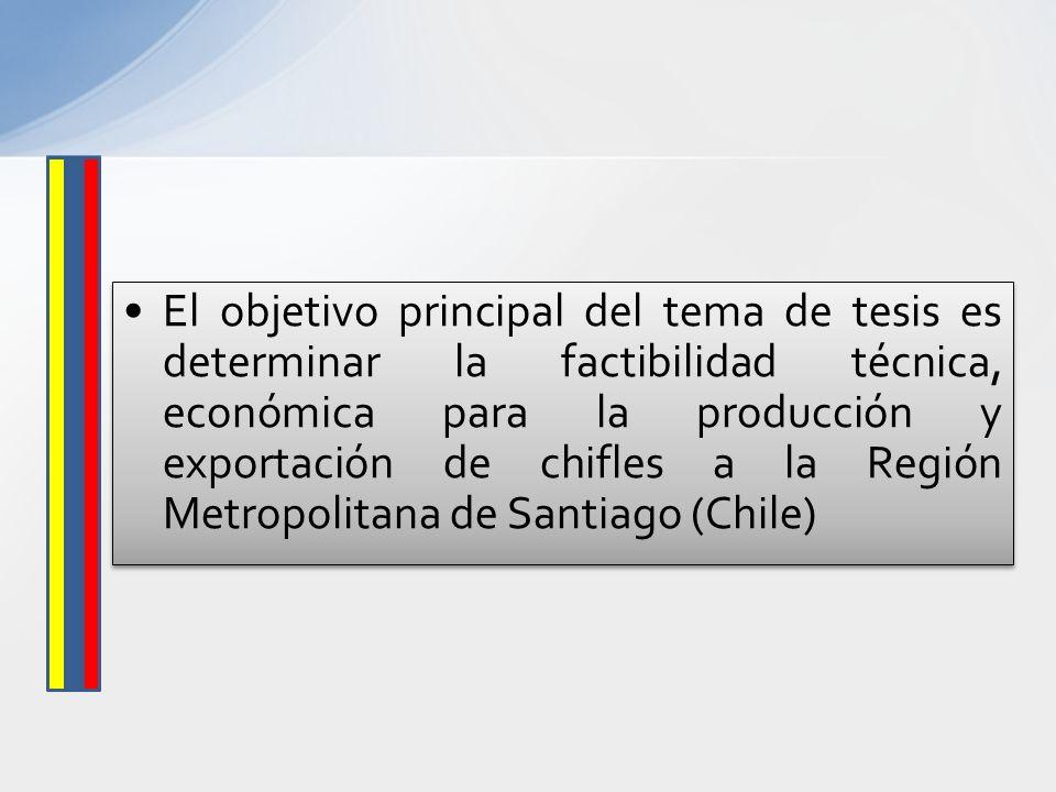 El objetivo principal del tema de tesis es determinar la factibilidad técnica, económica para la producción y exportación de chifles a la Región Metro