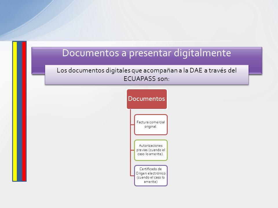 Documentos Factura comercial original. Autorizaciones previas (cuando el caso lo amerite). Certificado de Origen electrónico (cuando el caso lo amerit