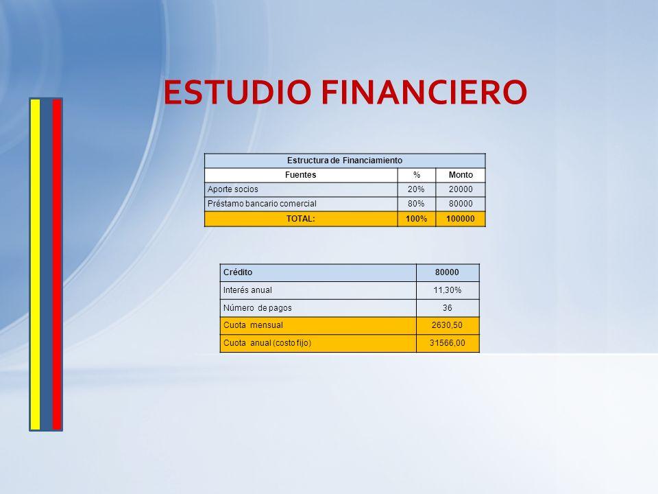 ESTUDIO FINANCIERO Estructura de Financiamiento Fuentes%Monto Aporte socios20%20000 Préstamo bancario comercial80%80000 TOTAL:100%100000 Crédito80000