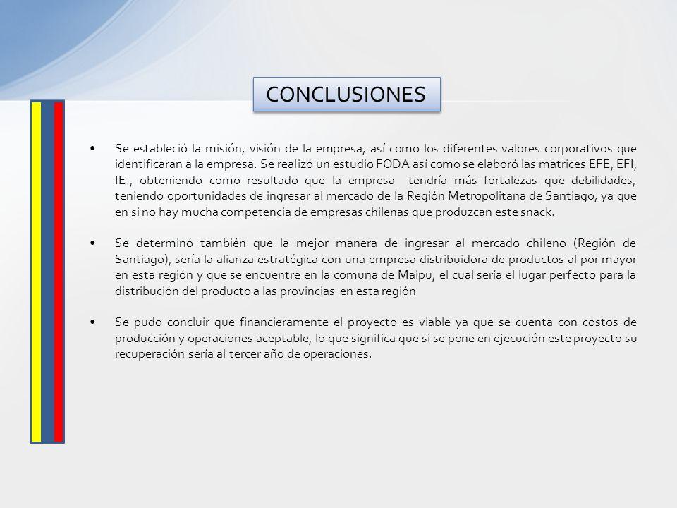 Se estableció la misión, visión de la empresa, así como los diferentes valores corporativos que identificaran a la empresa. Se realizó un estudio FODA
