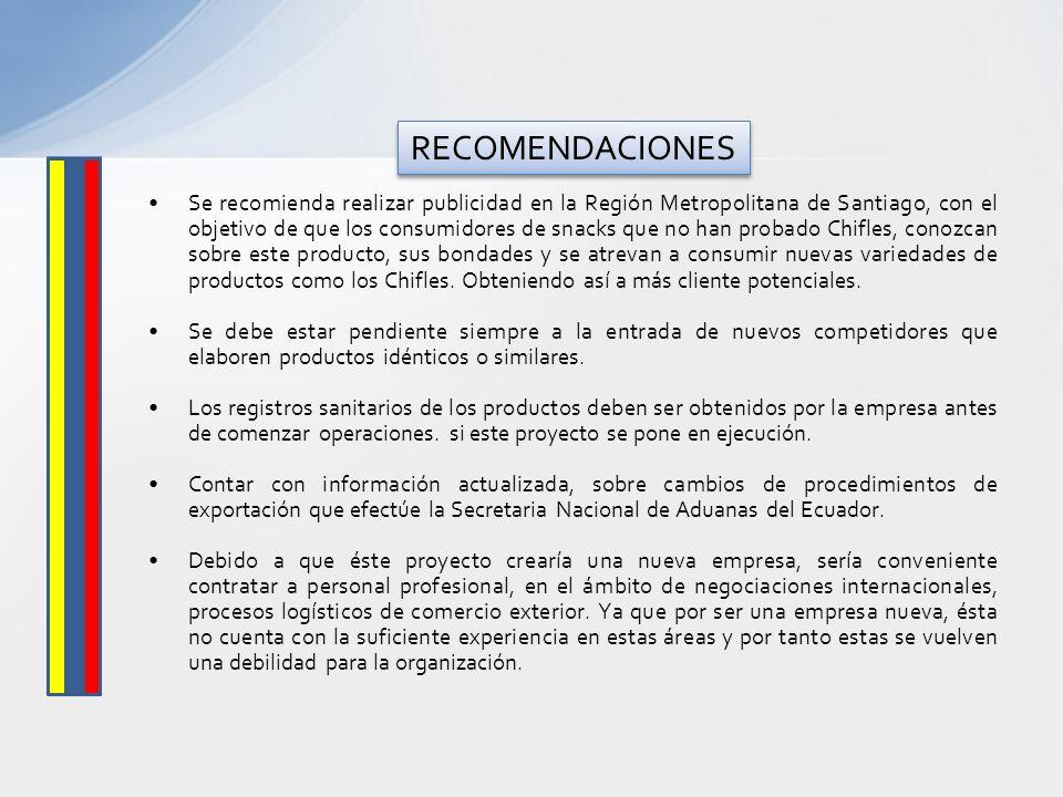 Se recomienda realizar publicidad en la Región Metropolitana de Santiago, con el objetivo de que los consumidores de snacks que no han probado Chifles