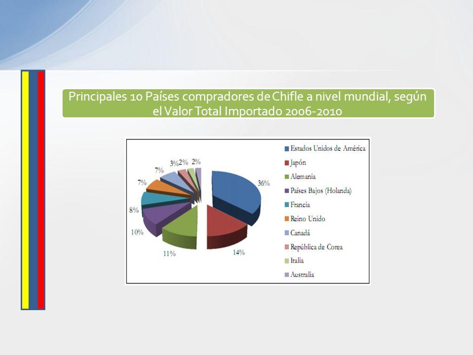 Principales 10 Países compradores de Chifle a nivel mundial, según el Valor Total Importado 2006-2010