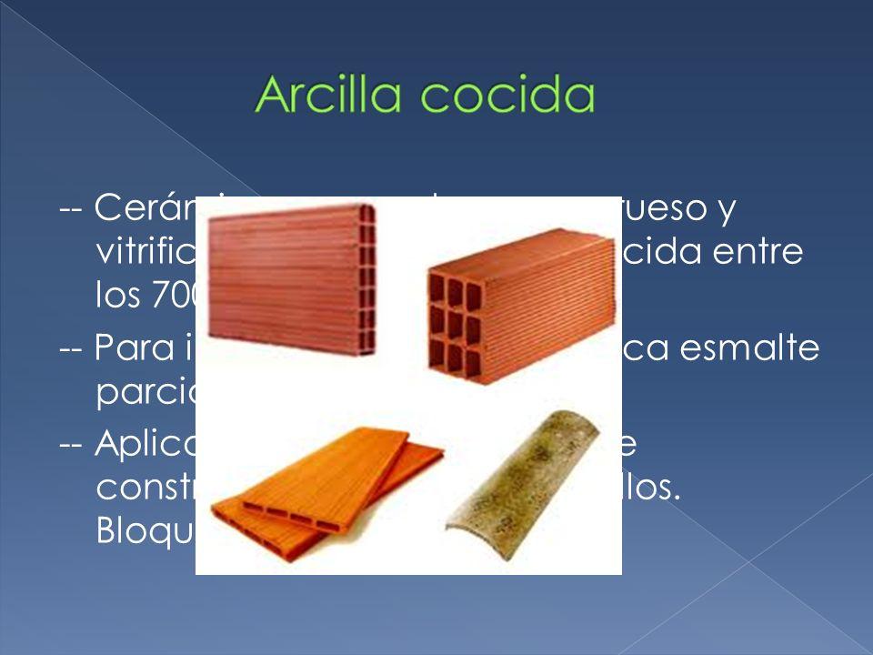 El material original es el barro cocido.Este se cuece a más de 1000 ºC.