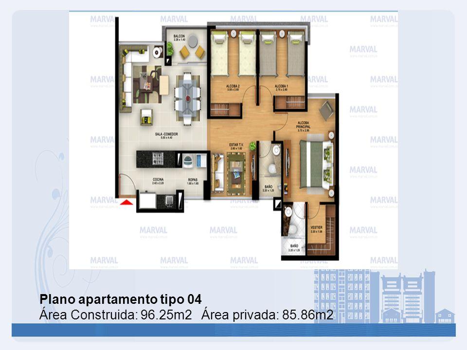 Plano apartamento tipo 04 Área Construida: 96.25m2 Área privada: 85.86m2