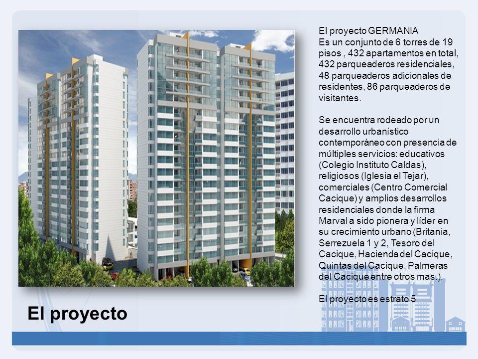 El proyecto GERMANIA Es un conjunto de 6 torres de 19 pisos, 432 apartamentos en total, 432 parqueaderos residenciales, 48 parqueaderos adicionales de