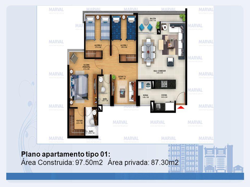 Plano apartamento tipo 01: Área Construida: 97.50m2 Área privada: 87.30m2