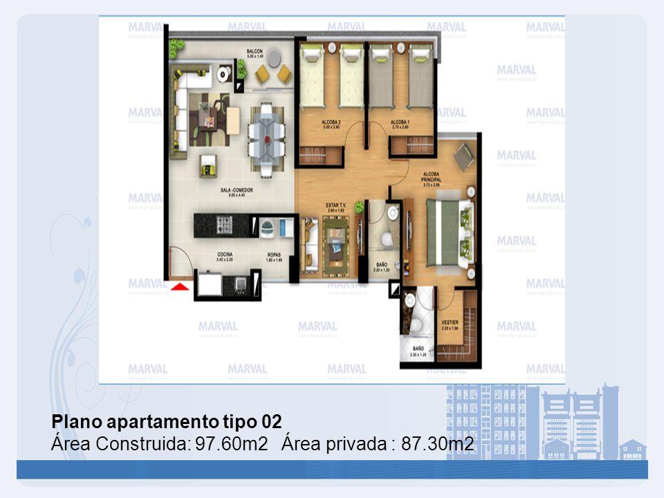 Plano apartamento tipo 02 Área Construida: 97.60m2 Área privada : 87.30m2