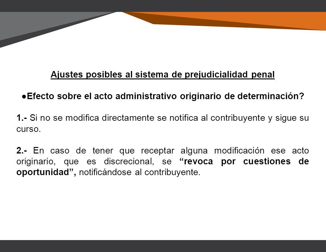 Ajustes posibles al sistema de prejudicialidad penal Efecto sobre el acto administrativo originario de determinación.