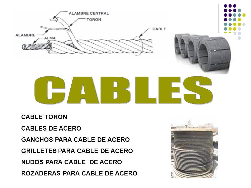 CABLE TORON CABLES DE ACERO GANCHOS PARA CABLE DE ACERO GRILLETES PARA CABLE DE ACERO NUDOS PARA CABLE DE ACERO ROZADERAS PARA CABLE DE ACERO
