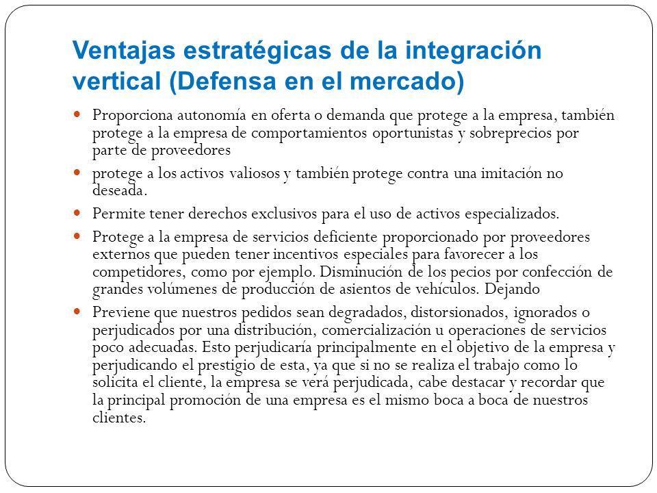 Ventajas estratégicas de la integración vertical (Defensa en el mercado) Proporciona autonomía en oferta o demanda que protege a la empresa, también p