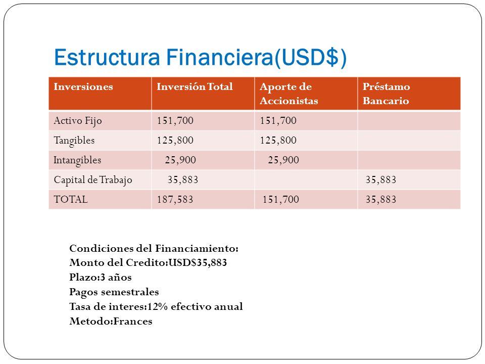 Estructura Financiera(USD$) InversionesInversión TotalAporte de Accionistas Préstamo Bancario Activo Fijo151,700 Tangibles125,800 Intangibles 25,900 Capital de Trabajo 35,883 TOTAL187,583 151,700 35,883 Condiciones del Financiamiento: Monto del Credito:USD$35,883 Plazo:3 años Pagos semestrales Tasa de interes:12% efectivo anual Metodo:Frances