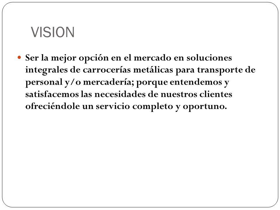 VISION Ser la mejor opción en el mercado en soluciones integrales de carrocerías metálicas para transporte de personal y/o mercadería; porque entendem
