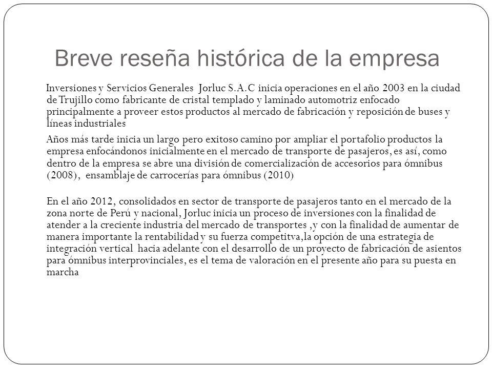 Breve reseña histórica de la empresa Inversiones y Servicios Generales Jorluc S.A.C inicia operaciones en el año 2003 en la ciudad de Trujillo como fa