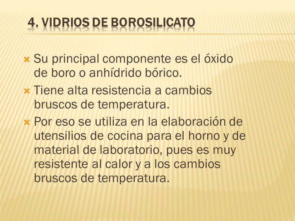 Su principal componente es el óxido de boro o anhídrido bórico.