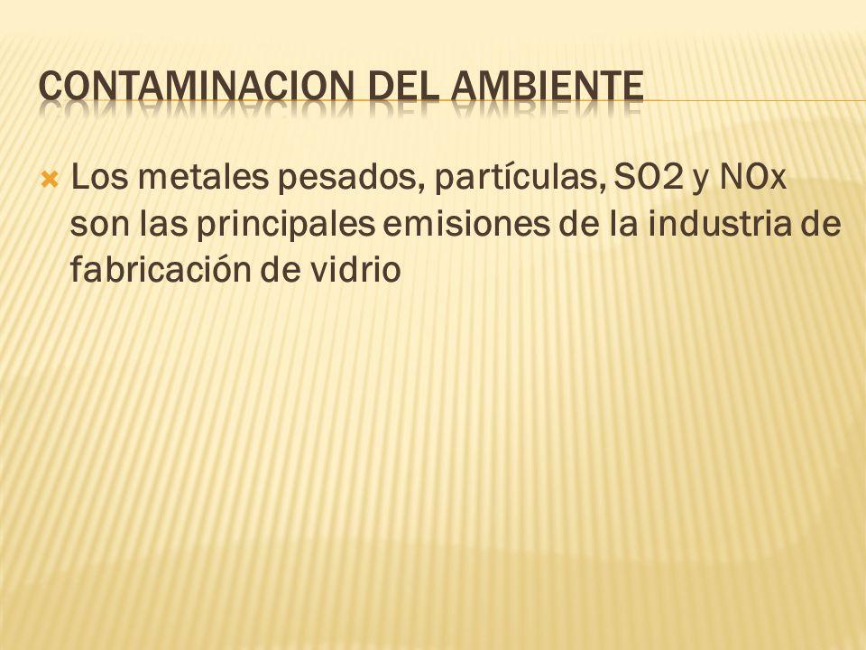 Los metales pesados, partículas, SO2 y NOx son las principales emisiones de la industria de fabricación de vidrio