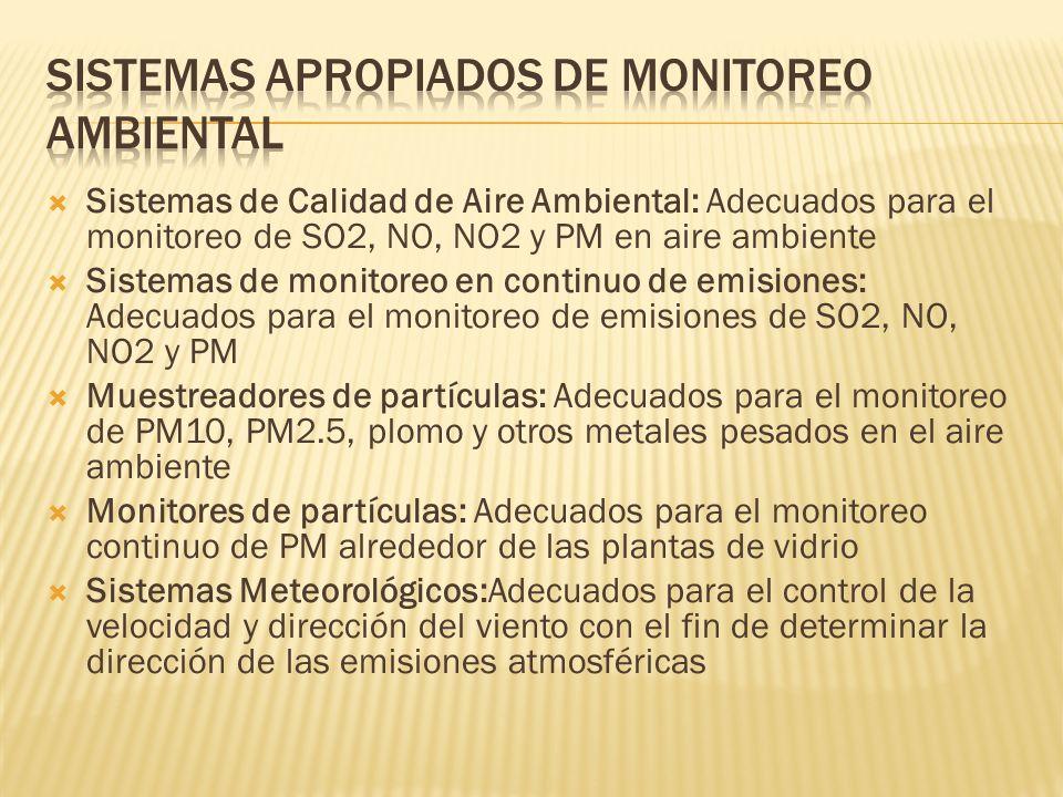 Sistemas de Calidad de Aire Ambiental: Adecuados para el monitoreo de SO2, NO, NO2 y PM en aire ambiente Sistemas de monitoreo en continuo de emisiones: Adecuados para el monitoreo de emisiones de SO2, NO, NO2 y PM Muestreadores de partículas: Adecuados para el monitoreo de PM10, PM2.5, plomo y otros metales pesados en el aire ambiente Monitores de partículas: Adecuados para el monitoreo continuo de PM alrededor de las plantas de vidrio Sistemas Meteorológicos:Adecuados para el control de la velocidad y dirección del viento con el fin de determinar la dirección de las emisiones atmosféricas