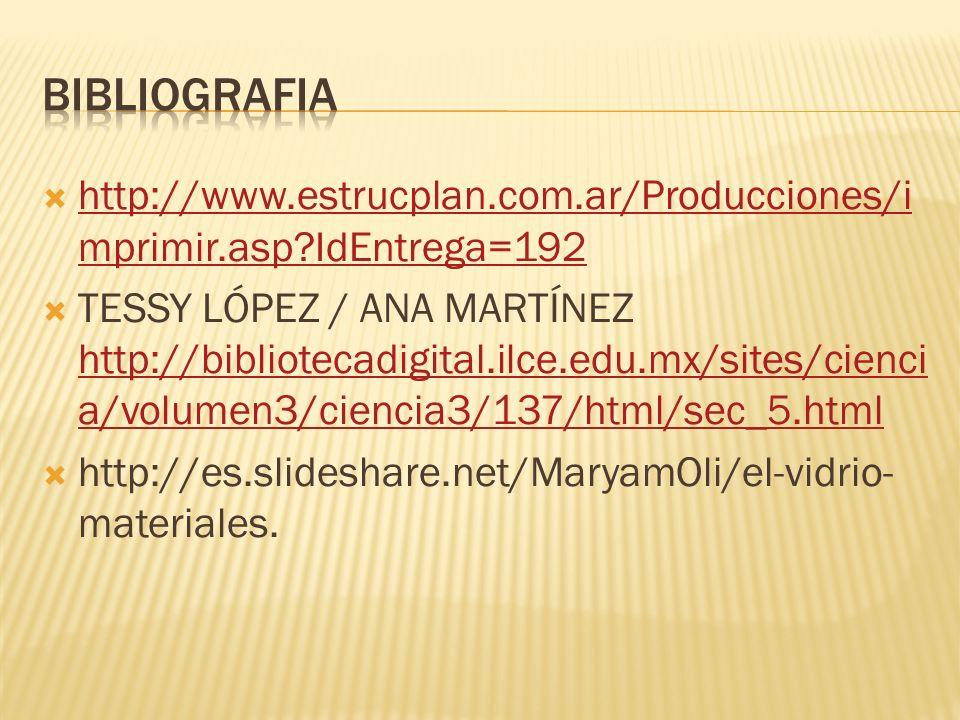 http://www.estrucplan.com.ar/Producciones/i mprimir.asp?IdEntrega=192 http://www.estrucplan.com.ar/Producciones/i mprimir.asp?IdEntrega=192 TESSY LÓPEZ / ANA MARTÍNEZ http://bibliotecadigital.ilce.edu.mx/sites/cienci a/volumen3/ciencia3/137/html/sec_5.html http://bibliotecadigital.ilce.edu.mx/sites/cienci a/volumen3/ciencia3/137/html/sec_5.html http://es.slideshare.net/MaryamOli/el-vidrio- materiales.