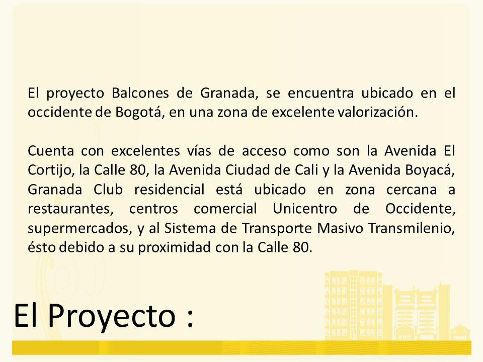 El proyecto Balcones de Granada, se encuentra ubicado en el occidente de Bogotá, en una zona de excelente valorización. Cuenta con excelentes vías de