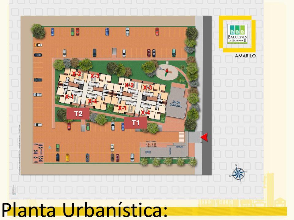 Planta Urbanística: T2 T1 X-2 X-3 X-1 X-4 X-2 X-3 X-1 X-4
