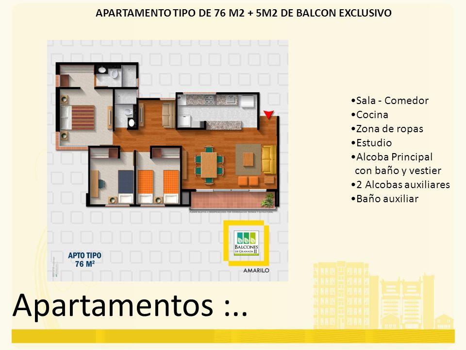 Apartamentos :.. APARTAMENTO TIPO DE 76 M2 + 5M2 DE BALCON EXCLUSIVO Sala - Comedor Cocina Zona de ropas Estudio Alcoba Principal con baño y vestier 2