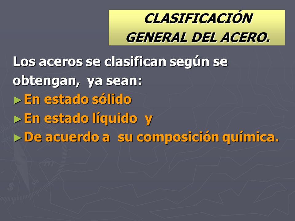 CLASIFICACIÓN GENERAL DEL ACERO. Los aceros se clasifican según se obtengan, ya sean: En estado sólido En estado sólido En estado líquido y En estado