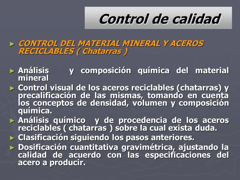 Control de calidad CONTROL DEL MATERIAL MINERAL Y ACEROS RECICLABLES ( Chatarras ) CONTROL DEL MATERIAL MINERAL Y ACEROS RECICLABLES ( Chatarras ) Aná