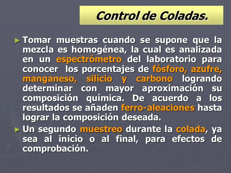 Control de Coladas. Tomar muestras cuando se supone que la mezcla es homogénea, la cual es analizada en un espectrómetro del laboratorio para conocer