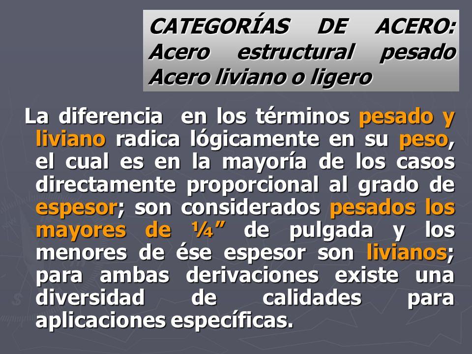 CATEGORÍAS DE ACERO: Acero estructural pesado Acero liviano o ligero La diferencia en los términos pesado y liviano radica lógicamente en su peso, el