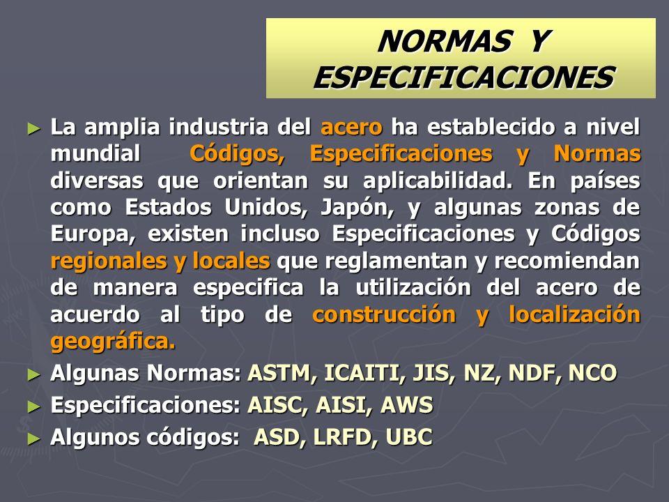 NORMAS Y ESPECIFICACIONES La amplia industria del acero ha establecido a nivel mundial Códigos, Especificaciones y Normas diversas que orientan su apl