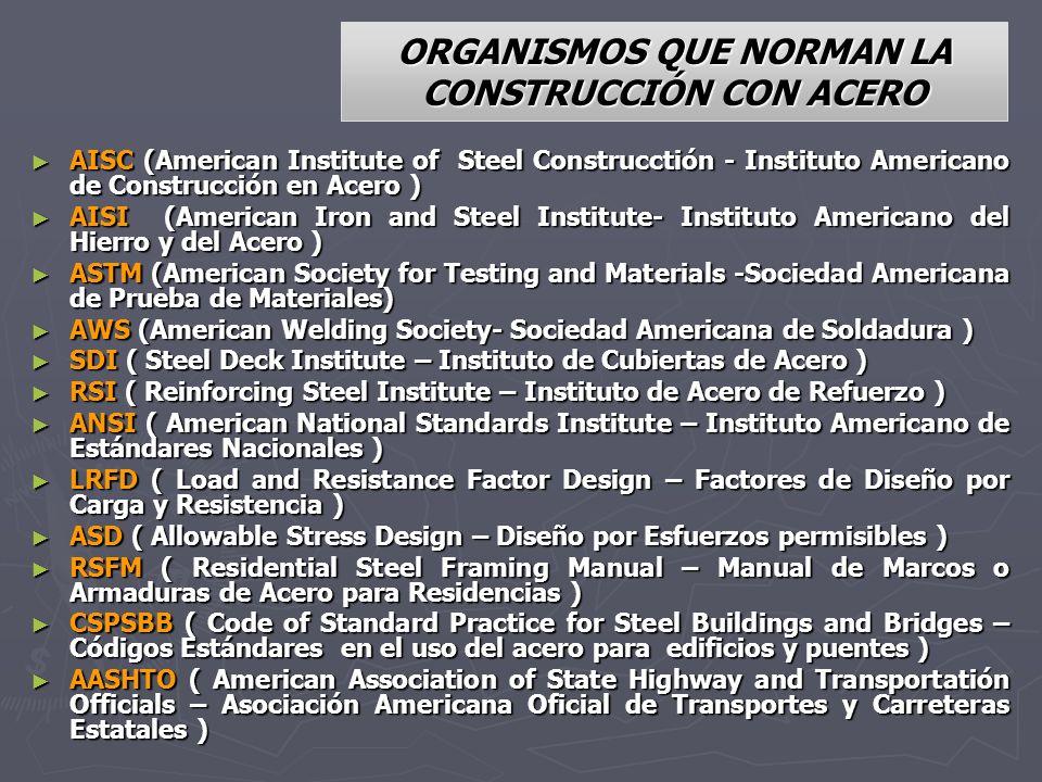 ORGANISMOS QUE NORMAN LA CONSTRUCCIÓN CON ACERO AISC (American Institute of Steel Construcctión - Instituto Americano de Construcción en Acero ) AISC