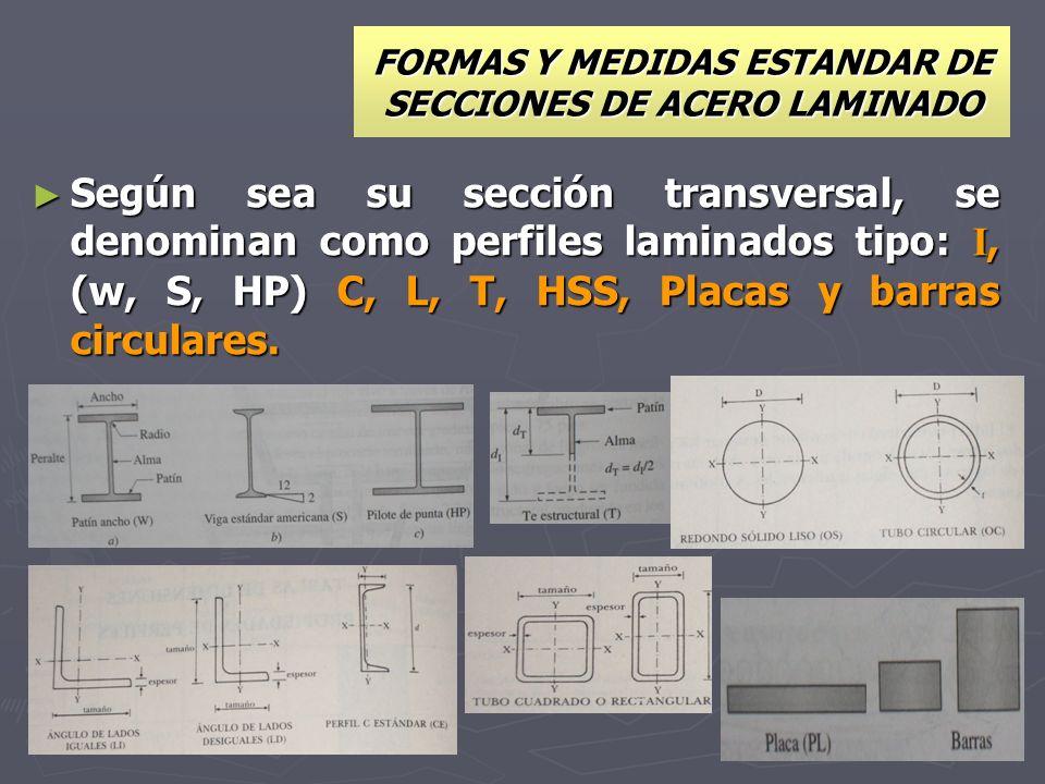 FORMAS Y MEDIDAS ESTANDAR DE SECCIONES DE ACERO LAMINADO Según sea su sección transversal, se denominan como perfiles laminados tipo: I, (w, S, HP) C,