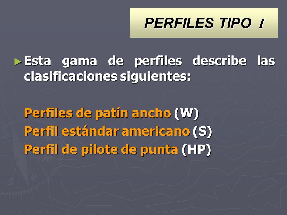 PERFILES TIPO I Esta gama de perfiles describe las clasificaciones siguientes: Esta gama de perfiles describe las clasificaciones siguientes: Perfiles