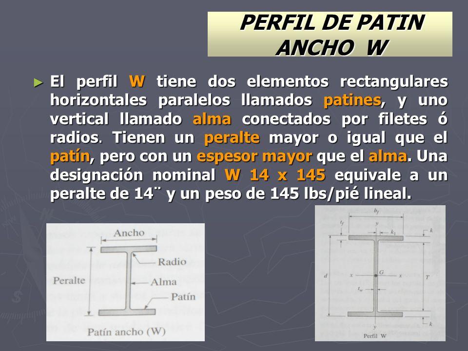 PERFIL DE PATIN ANCHO W El perfil W tiene dos elementos rectangulares horizontales paralelos llamados patines, y uno vertical llamado alma conectados