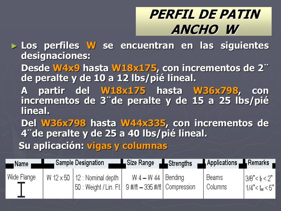 Los perfiles W se encuentran en las siguientes designaciones: Los perfiles W se encuentran en las siguientes designaciones: Desde W4x9 hasta W18x175,