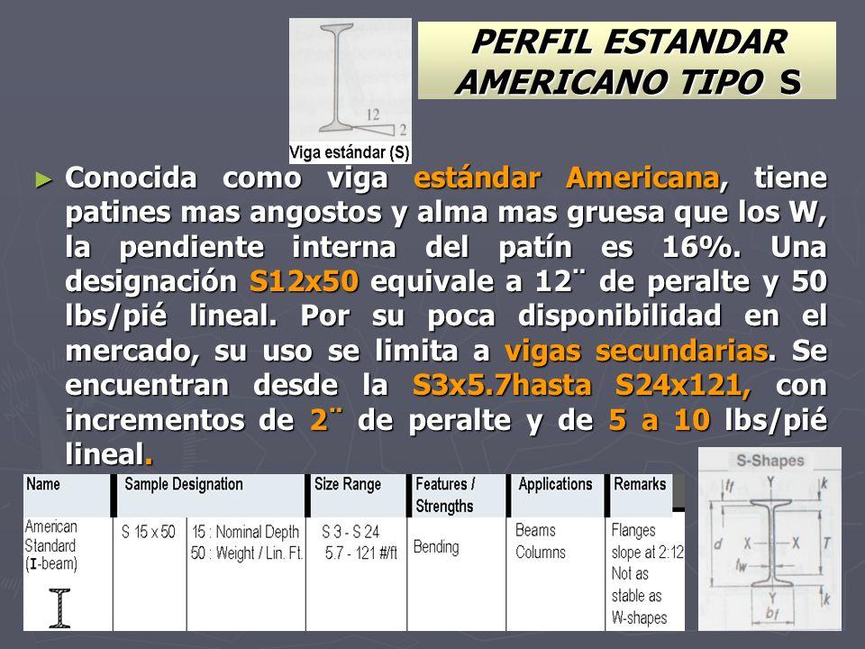 PERFIL ESTANDAR AMERICANO TIPO S Conocida como viga estándar Americana, tiene patines mas angostos y alma mas gruesa que los W, la pendiente interna d