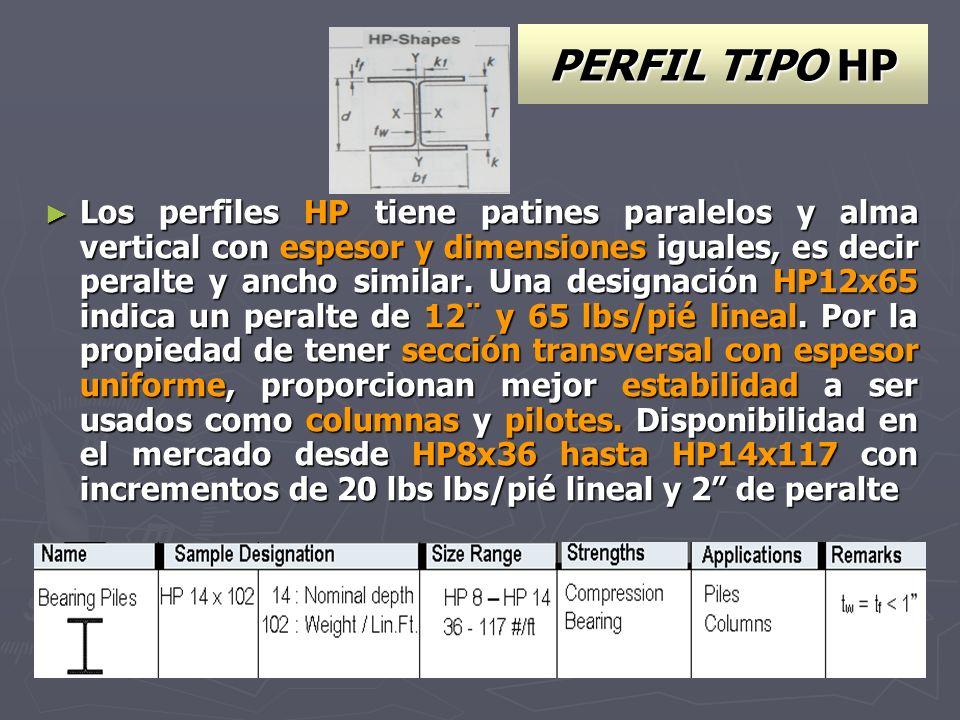 PERFIL TIPO HP Los perfiles HP tiene patines paralelos y alma vertical con espesor y dimensiones iguales, es decir peralte y ancho similar. Una design