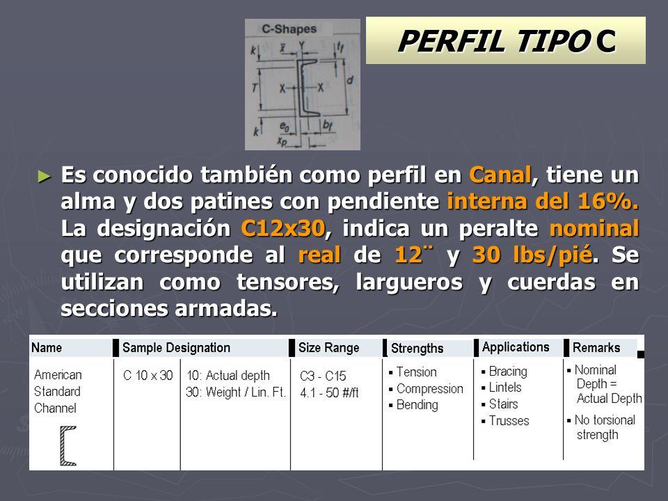 PERFIL TIPO C Es conocido también como perfil en Canal, tiene un alma y dos patines con pendiente interna del 16%. La designación C12x30, indica un pe