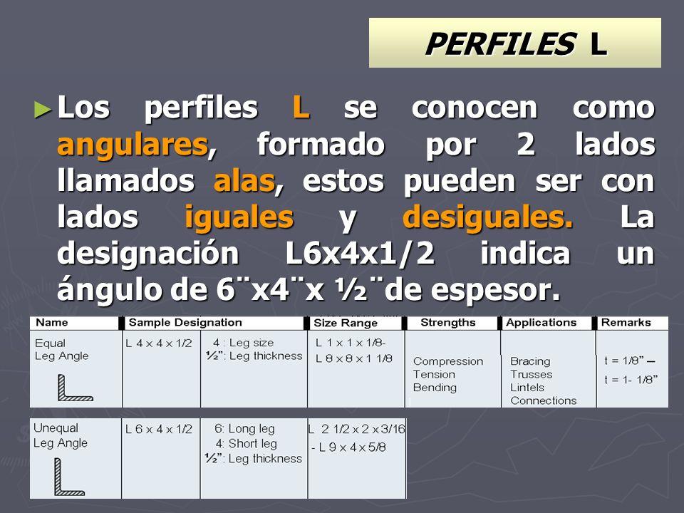 PERFILES L Los perfiles L se conocen como angulares, formado por 2 lados llamados alas, estos pueden ser con lados iguales y desiguales. La designació