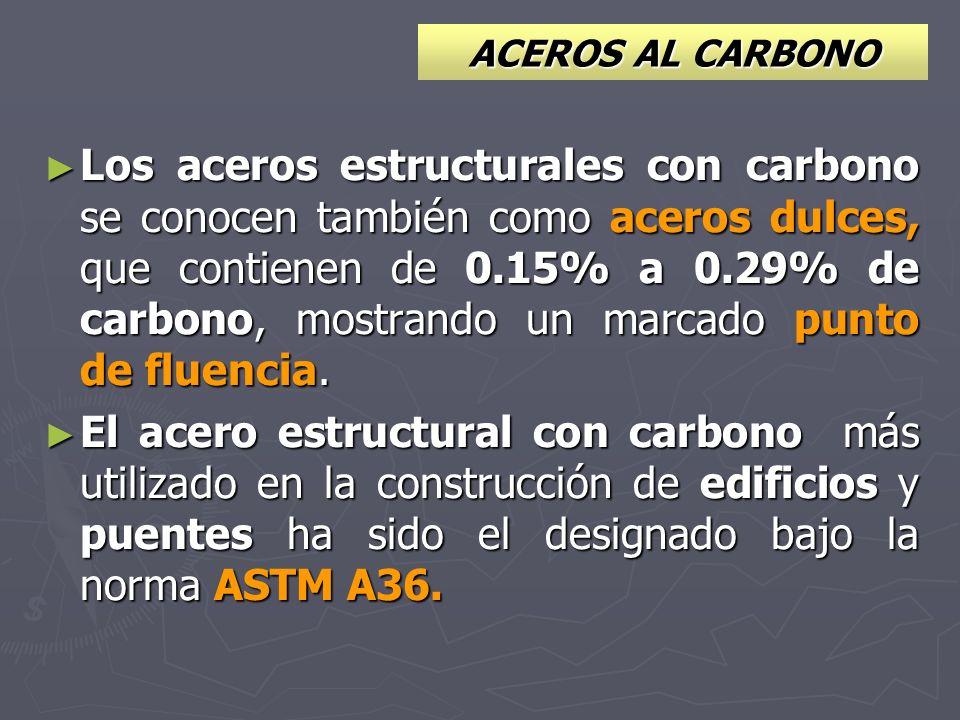 ACEROS AL CARBONO Los aceros estructurales con carbono se conocen también como aceros dulces, que contienen de 0.15% a 0.29% de carbono, mostrando un