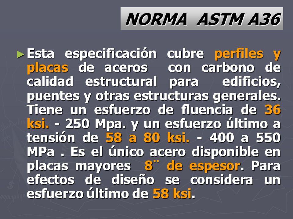 NORMA ASTM A36 Esta especificación cubre perfiles y placas de aceros con carbono de calidad estructural para edificios, puentes y otras estructuras ge