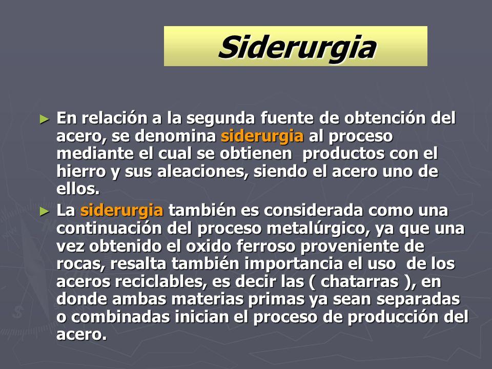 Siderurgia En relación a la segunda fuente de obtención del acero, se denomina siderurgia al proceso mediante el cual se obtienen productos con el hie