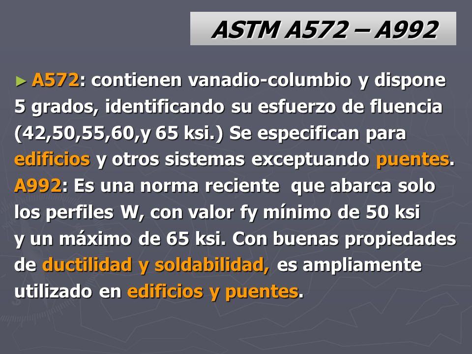 ASTM A572 – A992 A572: contienen vanadio-columbio y dispone A572: contienen vanadio-columbio y dispone 5 grados, identificando su esfuerzo de fluencia