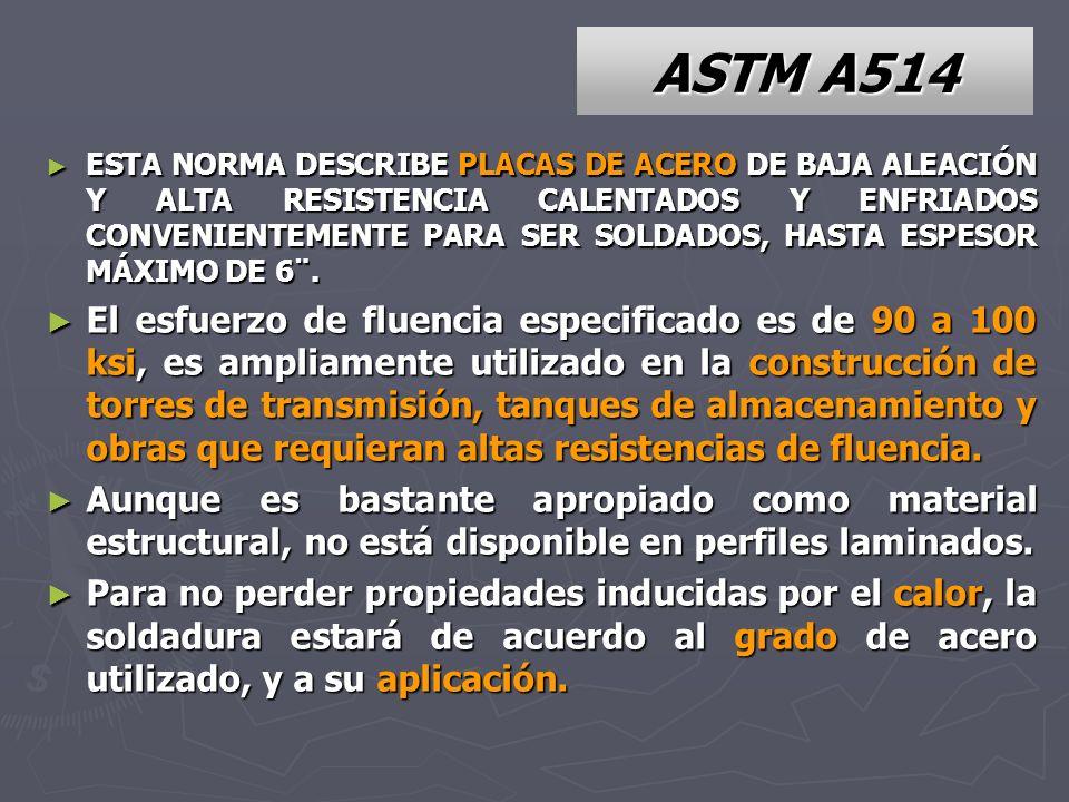 ASTM A514 ESTA NORMA DESCRIBE PLACAS DE ACERO DE BAJA ALEACIÓN Y ALTA RESISTENCIA CALENTADOS Y ENFRIADOS CONVENIENTEMENTE PARA SER SOLDADOS, HASTA ESP