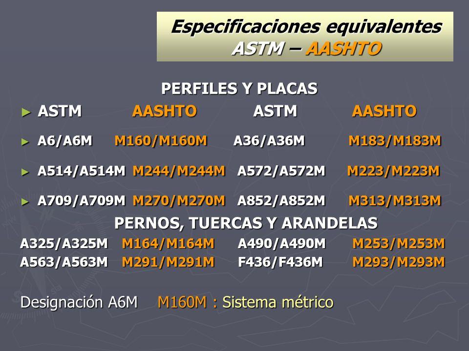 Especificaciones equivalentes ASTM – AASHTO PERFILES Y PLACAS ASTM AASHTO ASTM AASHTO ASTM AASHTO ASTM AASHTO A6/A6M M160/M160M A36/A36M M183/M183M A6