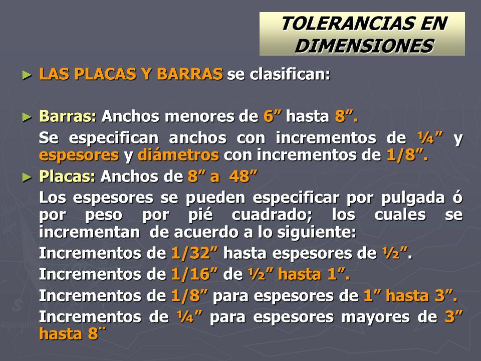 TOLERANCIAS EN DIMENSIONES LAS PLACAS Y BARRAS se clasifican: LAS PLACAS Y BARRAS se clasifican: Barras: Anchos menores de 6 hasta 8. Barras: Anchos m